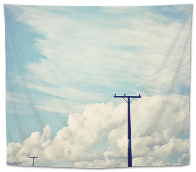 Blue Sky And Clouds with Power Lines 2 Tapestry by Susannah Tucker