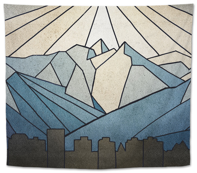 Geometric Mountain Tapestry by Anna Polanski