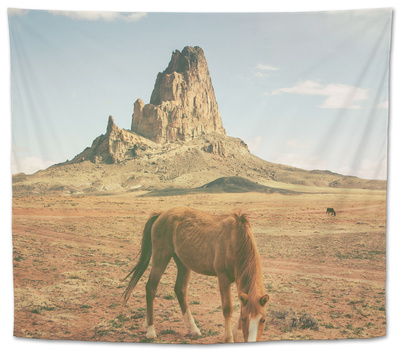 Horses at Mount Agathla, Monument Valley, Arizona Tapestry by Vincent James