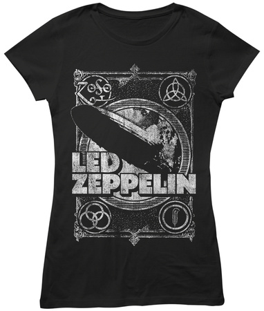 Juniors: Led Zeppelin- Distressed Four Symbols Stamp T-Shirts