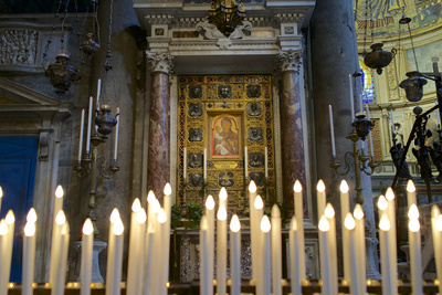Italy, Tuscany, Pisa, Piazza Dei Miracoli. Inside the Duomo, Electric Candles and Painting Photographic Print by Michele Molinari