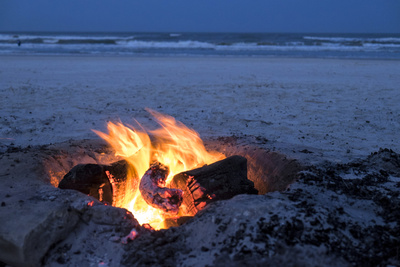Florida, New Smyrna Beach, Campfire on the Beach Photographic Print by Lisa S. Engelbrecht