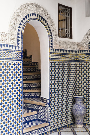 Morocco, Fes. Interior Detail of a Restored Riad Photographic Print by Brenda Tharp