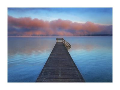Boat ramp and fog bench, Bavaria, Germany Prints by Frank Krahmer