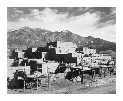 Full view of city, mountains in background, Taos Pueblo National Historic Landmark, New Mexico, 194 Posters by Ansel Adams