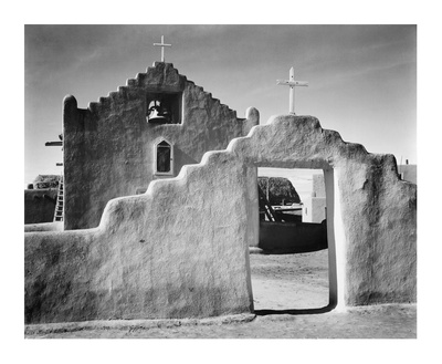 Full side view of entrance with gate to the right, Church, Taos Pueblo National Historic Landmark,  Prints by Ansel Adams