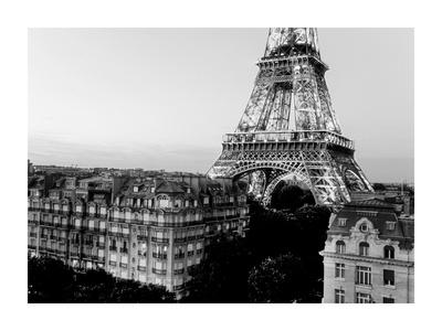 Eiffel tower and buildings, Paris Art by Michel Setboun
