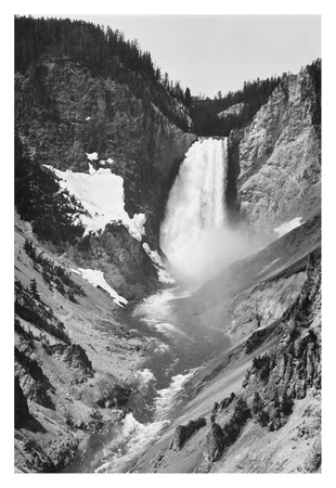Yellowstone Falls, Yellowstone National Park, Wyoming. ca. 1941-1942 ポスター : アンセル・アダムス
