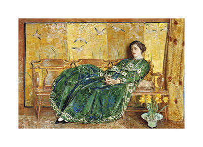 April: The Green Gown Premium Giclee Print by Frederick Childe Hassam