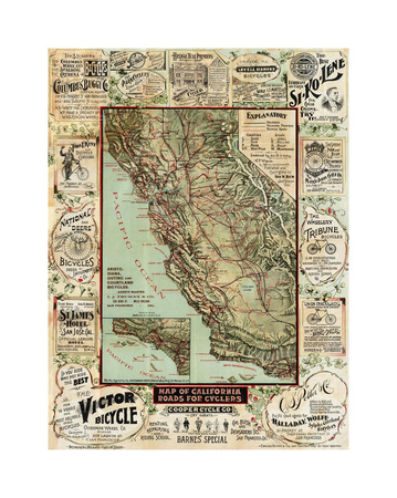 California map for Cyclers Giclee Print by Bill Cannon