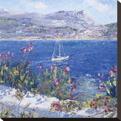 Villefranche Bay Stretched Canvas Print by Tania Forgione