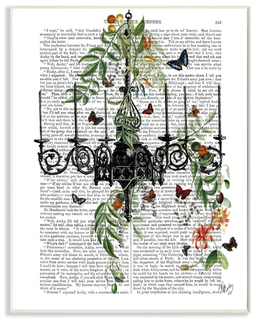 Classic Novel Chandelier With Vines and Butterflies Wall Plaque Art Wood Sign