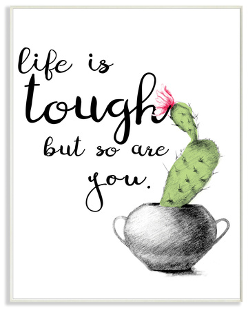 Life Is Tough Cactus Illustration Wall Plaque Art Wood Sign