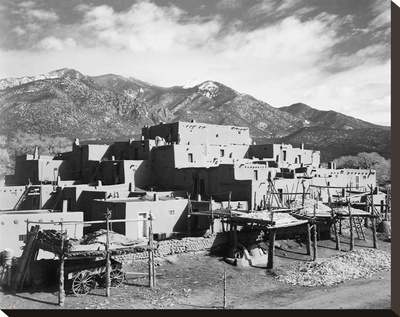 Full view of city, mountains in background, Taos Pueblo National Historic Landmark, New Mexico, 194 Stretched Canvas Print by Ansel Adams