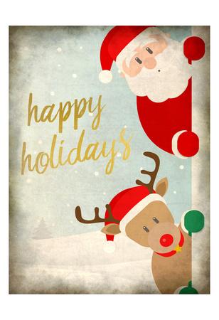 Santa and Rudolph Prints