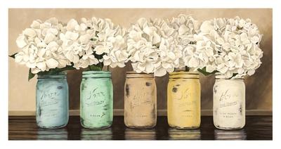 Hydrangeas in Mason Jars Giclee Print by Jenny Thomlinson