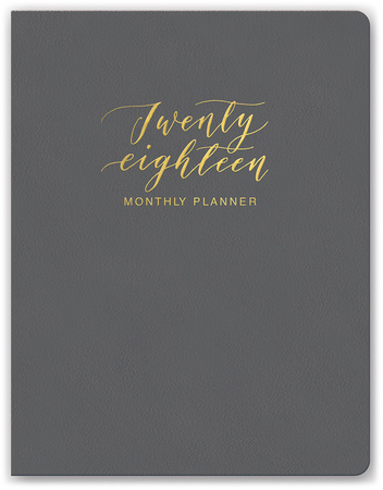 Clearly Charcoal Leatheresque Monthly Planner Calendari