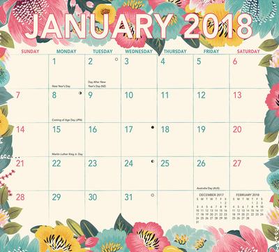 Retro Days Magnetic - 2018 Monthly Calendar Pad Calendari