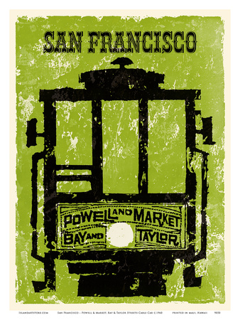 San Francisco - Powell & Market, Bay & Taylor Streets Cable Car Line Prints by  Pacifica Island Art