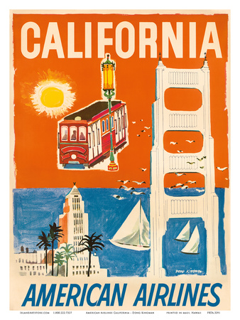 California - San Francisco Cable Car, Golden Gate Bridge - American Airlines Posters by Dong Kingman