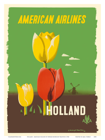 Holland - American Airlines - Tulips Posters by Edward McKnight Kauffer