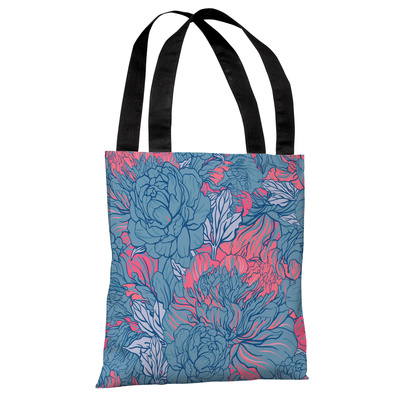 Abundant Florals - Blue Pink Tote Bag by OBC Tote Bag