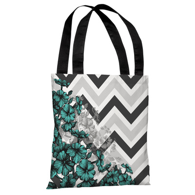 Amber Chevron Floral - Turquoise Tote Bag by OBC Tote Bag