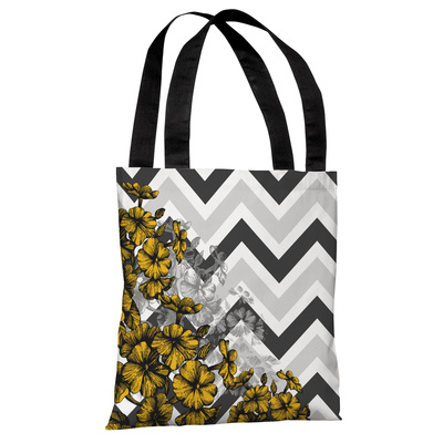 Amber Chevron Floral - Yellow Tote Bag by OBC Tote Bag