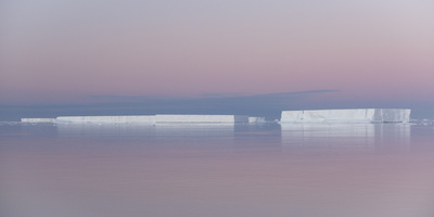 A Tabular Iceberg under the Midnight Sun of the Antarctic Summer in the Weddell Sea Photographic Print by Jeff Mauritzen