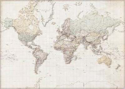 Weltkarte - Deutsch Affischer