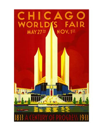 1933 Chicago World's Fair Affischer av  Vintage Poster