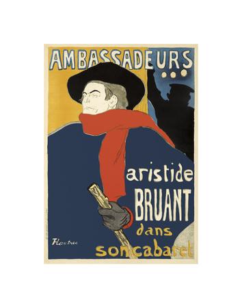 Ambassadeurs: Aristide Bruant, 1892 Prints by Henri de Toulouse Lautrec