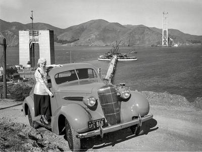 Golden Gate Bridge Under Construction, 1935, San Francisco Print by  Unknown