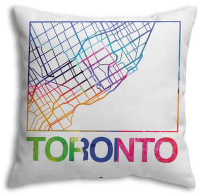 Toronto Watercolor Street Map Throw Pillow Throw Pillow by  NaxArt