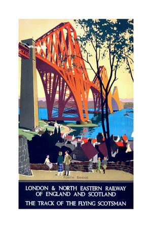 """Forth Bridge"" Vintage Travel Poster, London & North Eastern Railway of England & Scotland Art by  Piddix"