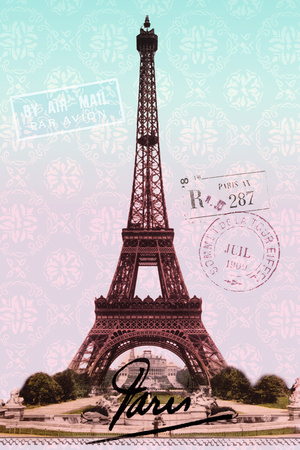 Pink Eiffel Tower, French Vintage Postcard Collage Prints by  Piddix