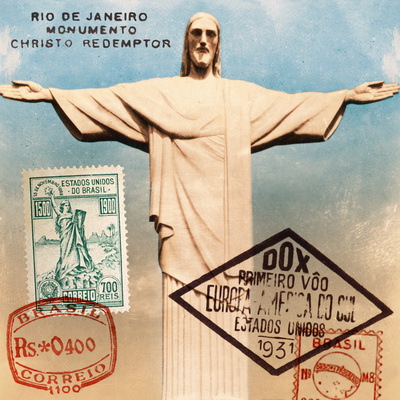 """Christ the Redeemer"" Brazil Vintage Postcard Collage Prints by  Piddix"