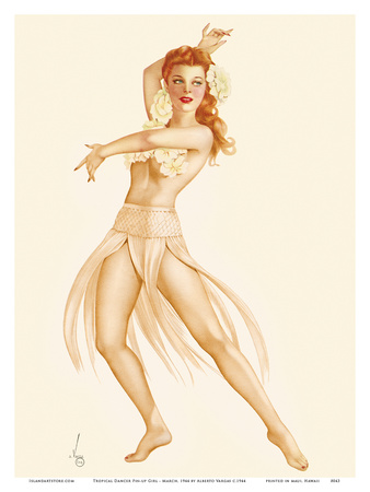 Tropical Dancer Pin-up Girl - March, 1944 Poster by Alberto Vargas