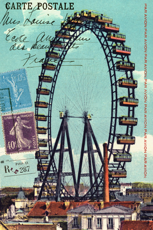 Ferris Wheel in Paris, Vintage Postcard Collage Posters by  Piddix