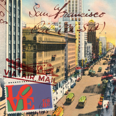 Market Street, San Francisco, Vintage Postcard Collage Poster by  Piddix