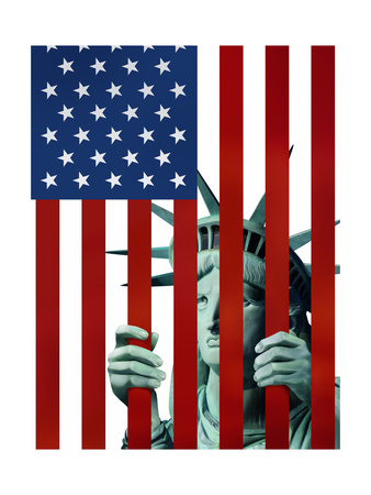 Statue of Liberty in American Flag Jail Posters by Derek Bacon