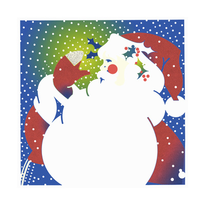 Father Christmas with Large White Beard Calling with Cupped Hand Poster by David Chestnutt
