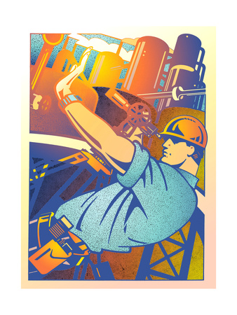 Camera Operator Filming Factory Print by David Chestnutt