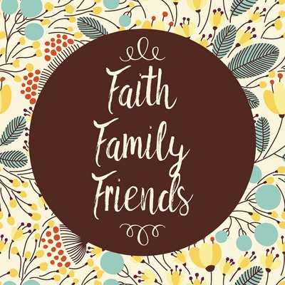 Faith Family Friends Retro Floral White Poster by  Color Me Happy