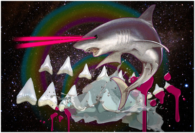 Majestic Laser Shark In Space Prints