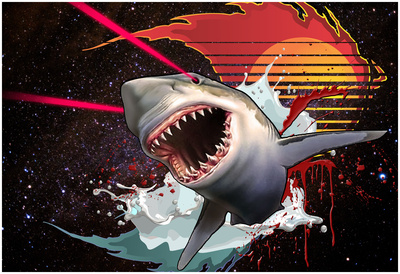 Vicious Laser Shark In Space Prints