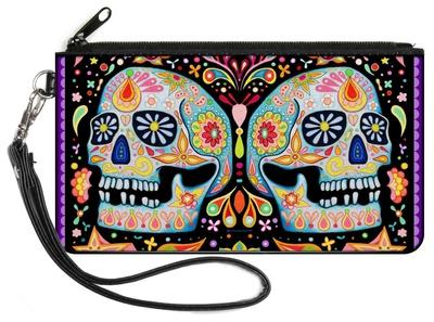 Twin Calaveras Floral Collage Canvas Zipper Wallet Wallet