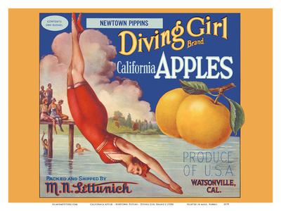 California Apples - Newtown Pippins - Diving Girl Brand Art by  Pacifica Island Art