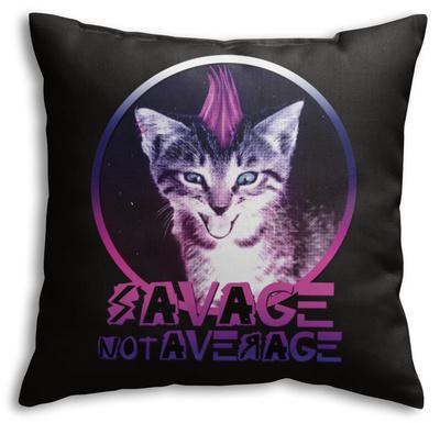 Savage Kitty Throw Pillow Throw Pillow