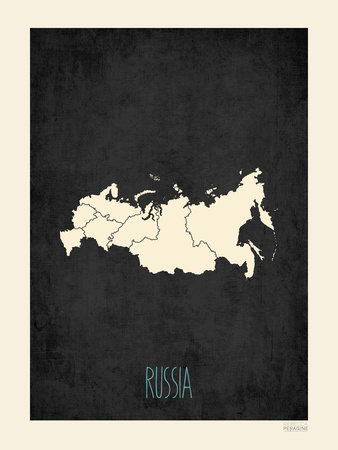 Black Map Russia Print by Rebecca Peragine